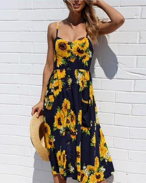 Casual Spaghetti Strap Patch Pocket Printed Midi Dress