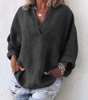 Solid Long Sleeve V Neck Plus Size Blouses Tops