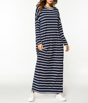 Casual Striped O-Neck Long Sleeve Maxi Dress