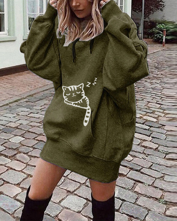 Long Sleeve Casual Hoodies Daily Printed Sweatshirts Tops
