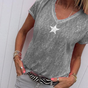 Plus Size V Neck Casual Star Printed T-Shirts Tops