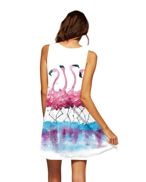 Fashion Print Round Neck Sleeveless Summer Dresses