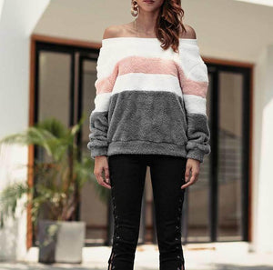 Long Sleeve Striped Off Shoulder Patchwork Fluffy Shaggy Sweatshirt