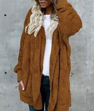 Solid Casual Long Sleeve Hoodie Faux Fur Velvet Pockets Coat