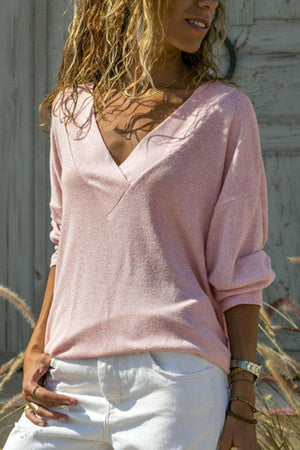 Women Fall V Neck Plain T-Shirts