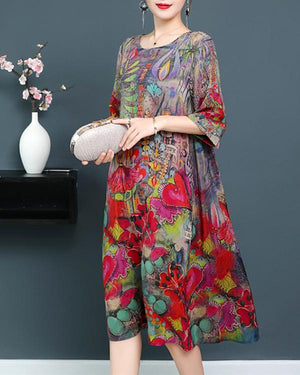 Women Casual Crew Neck Half Sleeve Printed Plus Size Dress