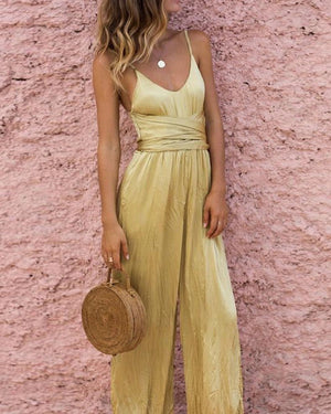 Casual Pure Color Sling Sleeveless Jumpsuits