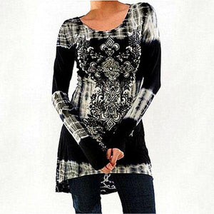 Women Plus Size Fashion Long Sleeve O-neck Printing T-shirt