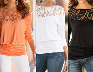 Round Neck Lace Patchwork Plain Long Sleeve T-Shirts Tops