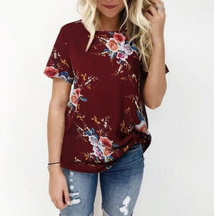 Women Casual Crew Neck Flower Printed Plus Size Blouses Tops