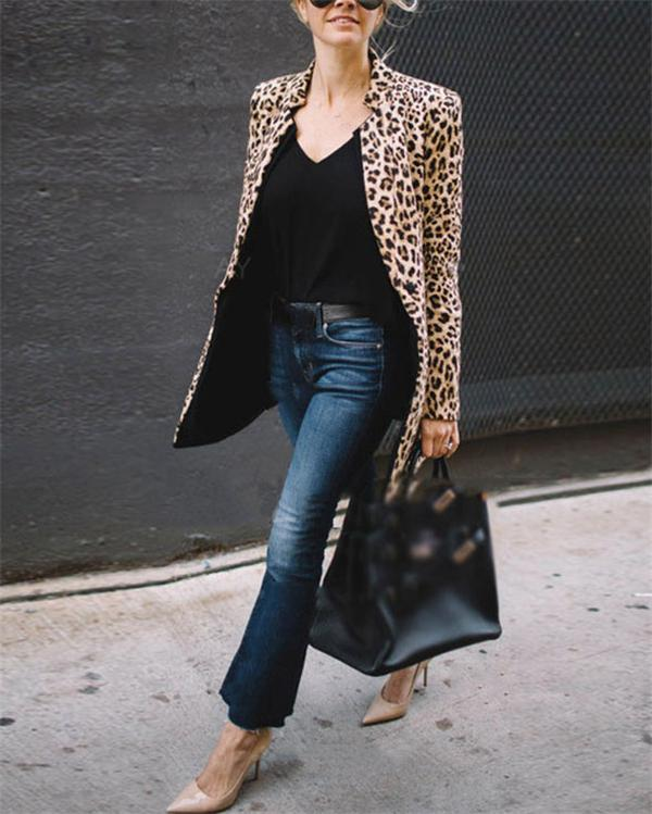 Leopard Printed Cardient Long Sleeve Fashionable Outwear Coat