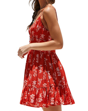 Floral Printed Summer Spaghetti-Strap Button Dress