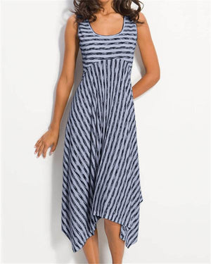 Women Midi Stripes Dresses A-Line Daily Cotton-Blend Printed Dresses