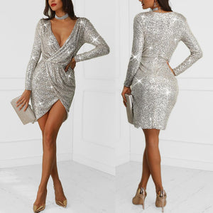 Women Sequined Solid Long Sleeve V-Neck Party Dress