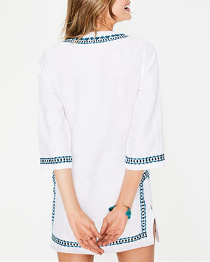 Linen V Neck Half Sleeve Floral-Embroidered Shirts Tops