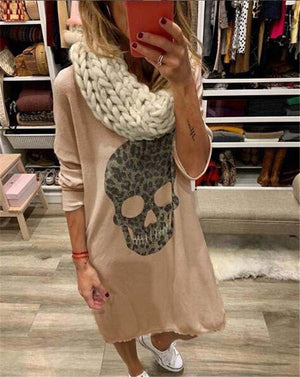Plus Size Skull Longs Knitwear Skirt Mini Dress Tops
