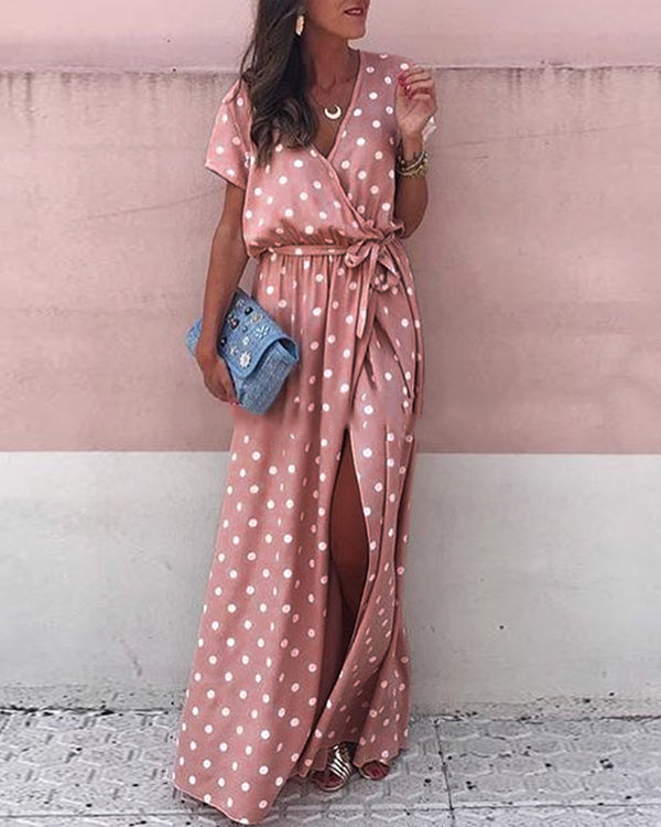 Sexy Short Sleeve Deep V Neck Polka Dot Lace Maxi Dress