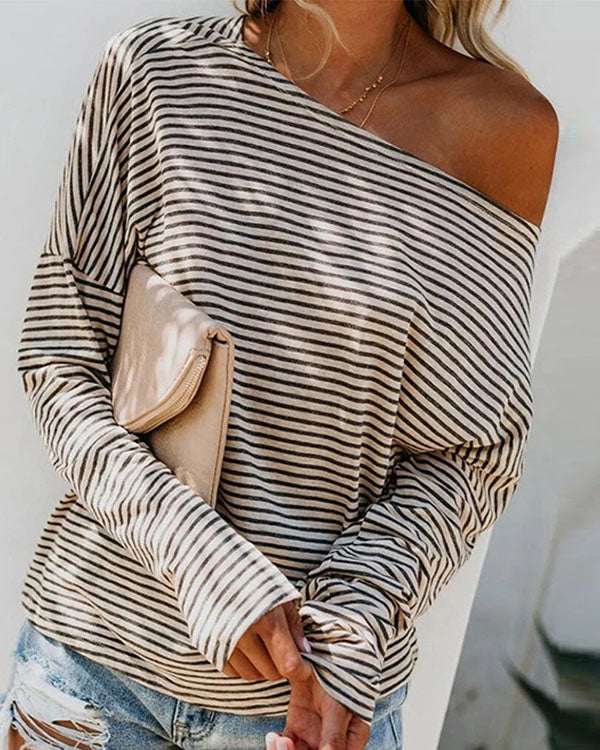 Women Stripe Print Long Sleeve Blouse Off Shoulder