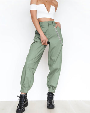 Solid Casual Pockets High Elastic Waist Harem Pants