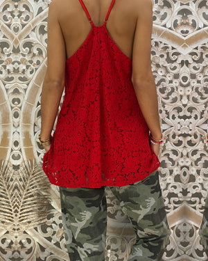 Summer V-Neck Lace Sleeveless Vest Plus Size T-Shirt Tops