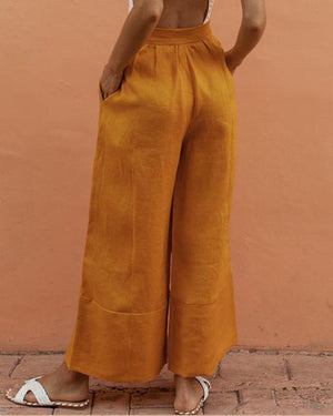 Women Casual Solid Color Wide Leg Pants