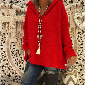 Casual Hooded Plain Loose Long Sleeve Knitting Sweaters