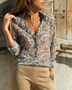 Fall Lady's Elegant Cotton Floral Shirt Collar Shirts