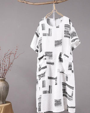 Women Vintage Cotton And Linen Stand Black Print Maxi Dress