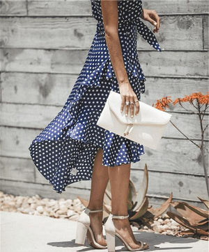Polka Dot Spaghetti Strap Swing Midi Dress