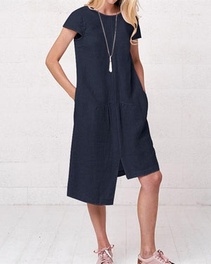 Irregular Cotton And Linen Solid Color Crew Neck Plus Size Dress