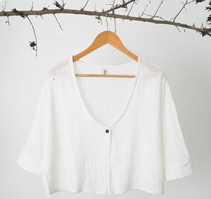 Buttoned Simple Solid 3/4 Sleeve Shift Kimono Tops