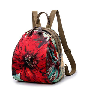 Flower Pattern Backpack Nylon Shoulder Bag