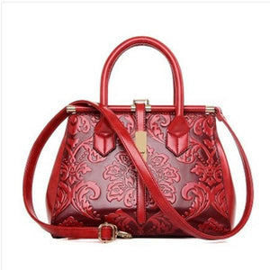 Women PU Leather Retro Embroidery Handbag Tote Bag