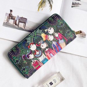 Bohemian Long Wallet Multi-Function Phone Bag 4 Card Slot Purse