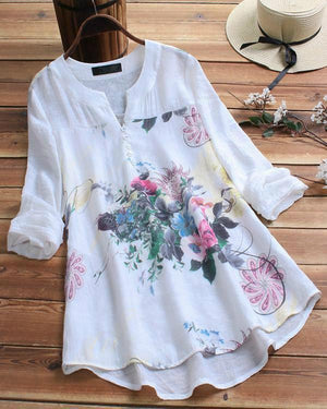 V-neck Random Floral Printed Long Sleeve Plus Size Blouse