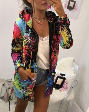 Women Multicolor Printing Hooded Coat Zipper Jacket Outwear Sportwear