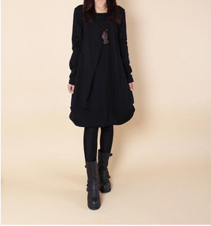 Women's Plus Size Loose Casual Pleated Round Neck Long Sleeve Dress