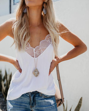 Women V Neck Spaghetti Lace Paneled Summer Camis Tops