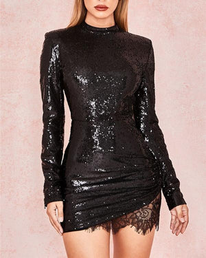 Women's Daily Elegant  Sequined Long Sleeve Solid Color Lace Black Dress