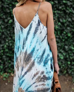 Women Casual Sleeveless Sling Bohemian Printed With Pockets Dress