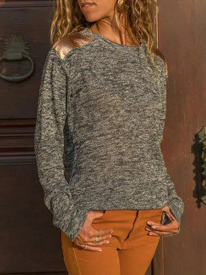 Round Neck Cotton-Blend Long Sleeve Casual Sweaters