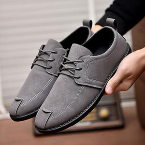 Men Pure Color PU Leather Lace Up Soft Casual Shoes