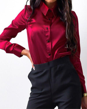 Fashion Lapel Long Sleeve Solid Color Blouse