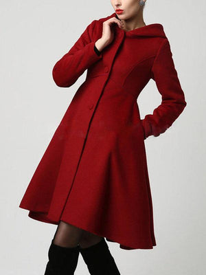 Pockets Solid Elegant A-Line Lady's Winter Coats With Hoodie
