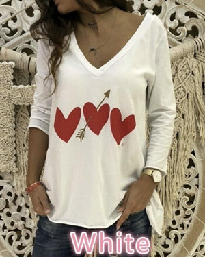 Heart Print V-neck Long Sleeve Casual Blouse Tops