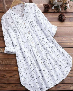 V-Neck Pleated Floral Print Long Sleeve Casual Tops T-Shirt Blouse