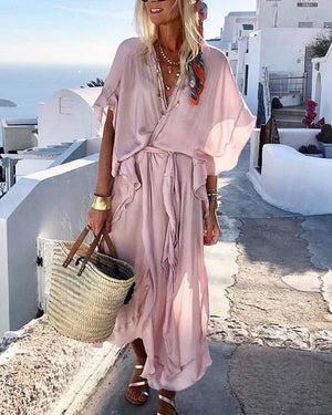 Solid Color V Neck Short Sleeve Maxi Dress