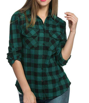 Women's Long Sleeve Plaid Shirt Button Down Checkered Cotton T-Shirts Tops