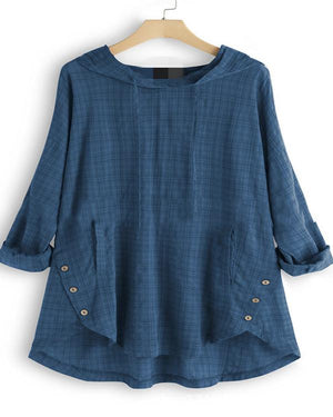 Vintage Plaid Button Hooded Irregular Plus Size Blouse With Pockets Top