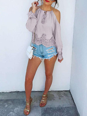 Light Purple Lace Detail Cold Shoulder Blouses